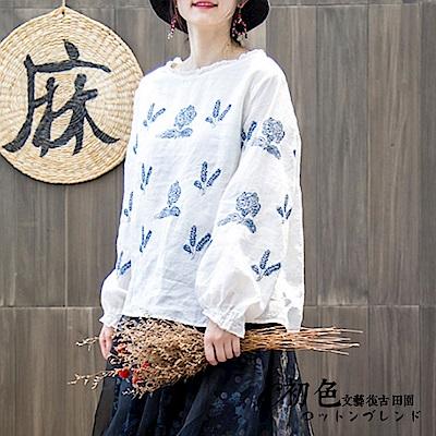 氣質刺繡寬版泡泡袖上衣-共2色(F可選)    初色