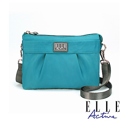 ELLE Active 優雅隨行系列-輕薄多夾層側背包/斜背包/手拿包-藍綠色
