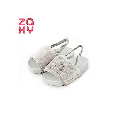 ZAXY 時尚絨毛涼鞋(寶寶款)-灰