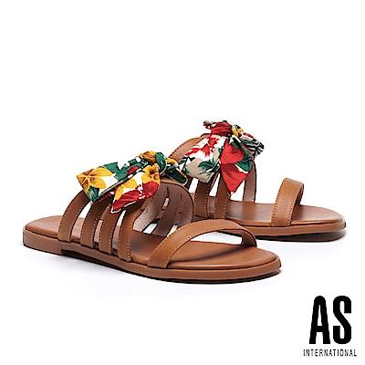 拖鞋 AS 熱帶度假風蝴蝶結印花繫帶牛皮拖鞋-咖