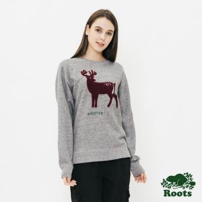 ROOTS女裝 野生動物刷毛圓領上衣 -灰