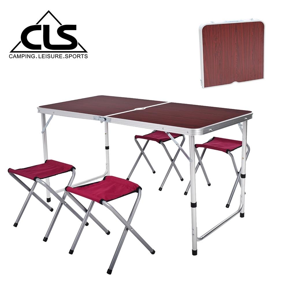 韓國CLS 可調桌腳鋁合金折疊一桌四椅組 折疊箱型桌 折合桌 露營桌 鋁合金桌(兩色任選)