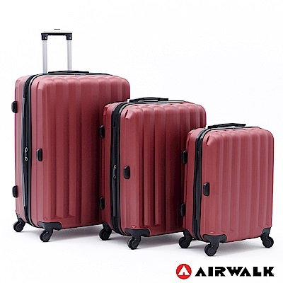 AIRWALK -海岸線系列 BoBo經濟款ABS硬殼拉鍊20+24+28吋三件組-熱點紅