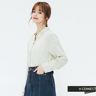 H:CONNECT 韓國品牌 女裝-側開岔條紋配色襯衫-黃