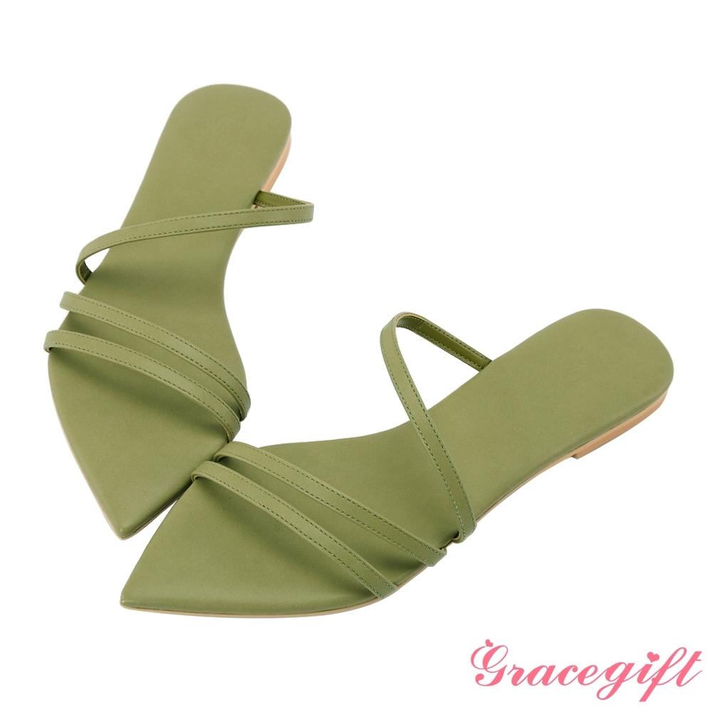 Grace gift X Tammy-聯名一字細帶尖頭涼拖鞋 綠