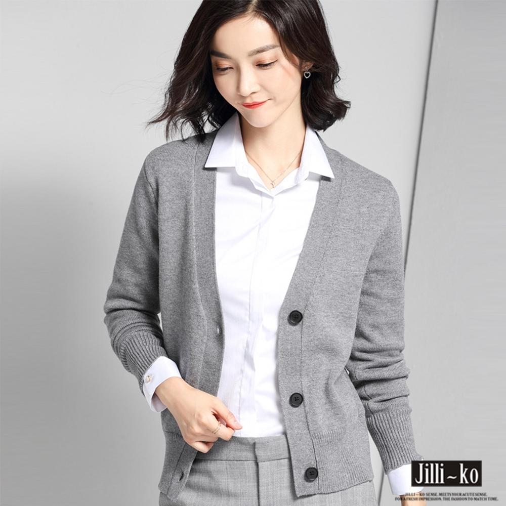 JILLI-KO 通勤風薄款V領針織外套-灰/黑