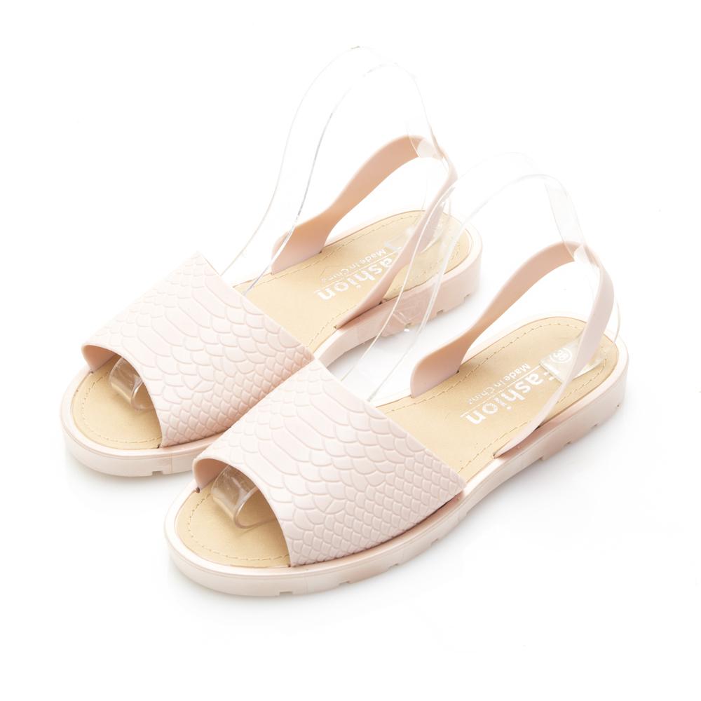 JMS-雨天剋星素面魚口PU防水涼鞋-粉色