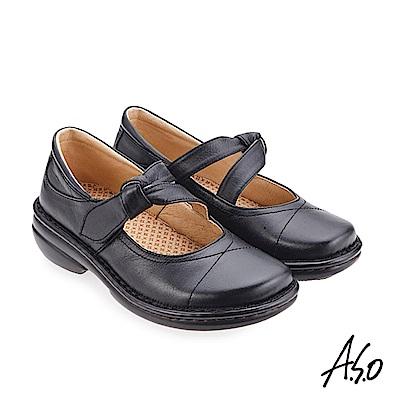 A.S.O 手縫氣墊系列 人體工學休閒鞋 黑