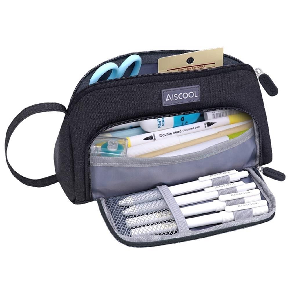 AISCOOL超大容量1.5公升文具收納袋化妝包X0026系列(可手提/放70支筆)鉛筆盒袋鉛筆袋
