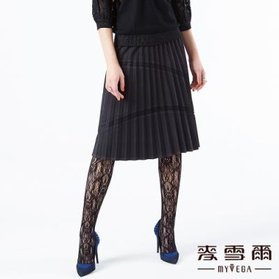【麥雪爾】蕾絲拼接霧面八分百摺裙