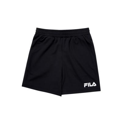 FILA KIDS 女童吸濕排汗4分褲-黑 5SHU-4914-BK