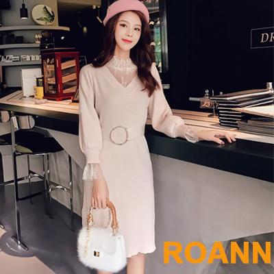 假兩件拼接透膚蕾絲長袖針織洋裝 (共二色)-ROANN