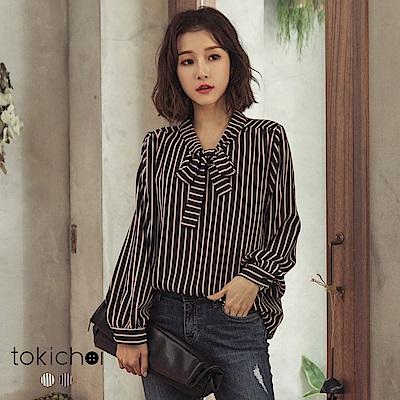 東京著衣 OL穿搭條紋領口綁帶長袖襯衫-S.M(共二色)