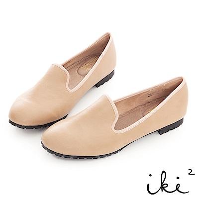 iki2極簡風尚 -質感羊紋舒適樂福鞋-卡其