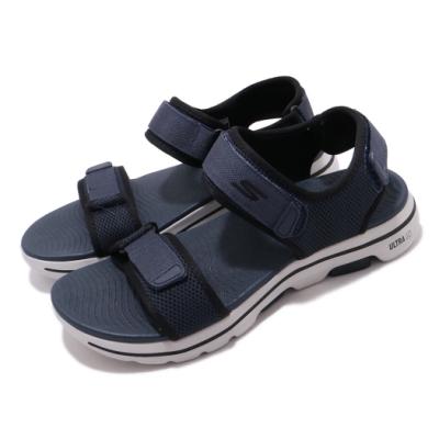 Skechers 涼拖鞋 Go Walk 5 休閒 男鞋 健走鞋底 緩震 輕量 魔鬼氈 透氣 藍 黑 229003NVBK