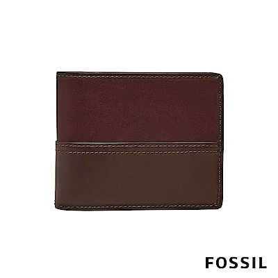 FOSSIL TATE 拼接造型照片零錢袋兩折短夾-深咖啡