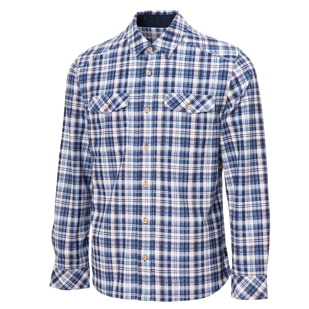 【WILDLAND荒野】男彈性格紋內刷毛保暖襯衫藍格