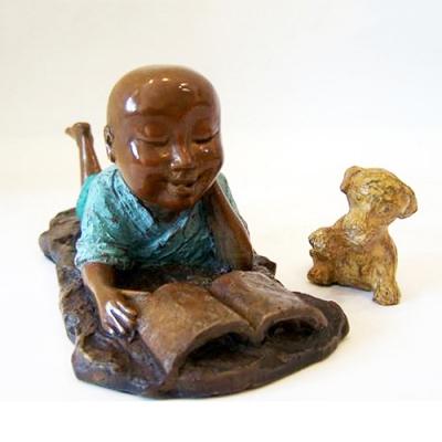林韋龍(林宇坤) 童趣系列限量原作銅雕~看書(禪趣)
