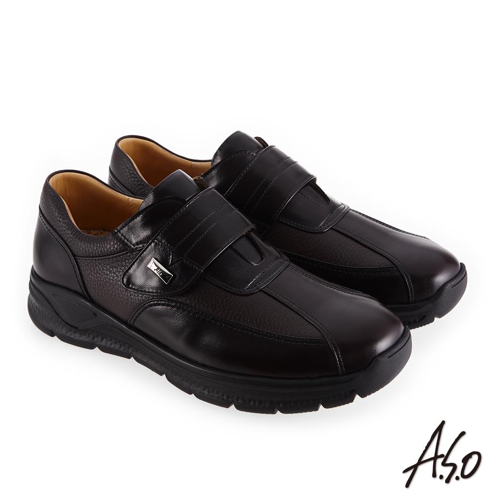 A.S.O 3A全掌氣墊 減壓抗震休閒鞋 深咖啡