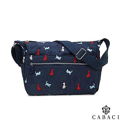 CABACI 淘氣小貓繡線多隔層斜背包-藍色