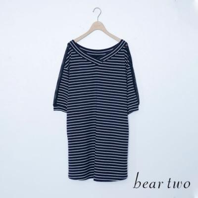 bear two- 條紋造型五分袖長上衣-深藍
