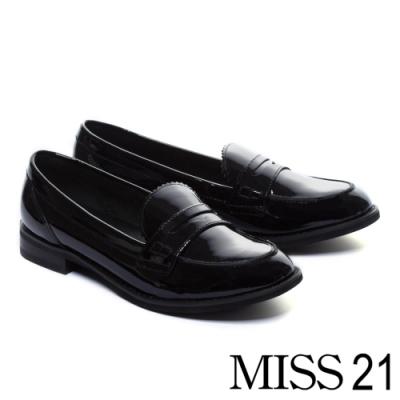 厚底鞋 MISS 21 經典復古學院風漆皮方頭樂福厚底鞋-黑
