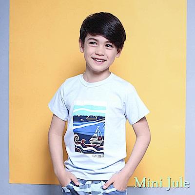 Mini Jule 上衣 海浪帆船風景圖樣短袖T恤(藍)