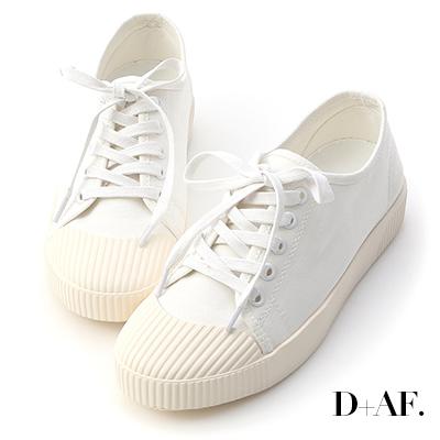 D+AF 悠閒主打.奶油頭綁帶帆布休閒鞋*白