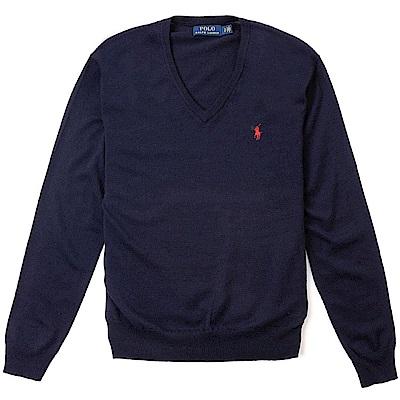Polo Rlaph Lauren 經典刺繡小馬V領針織棉質毛衣-深藍色