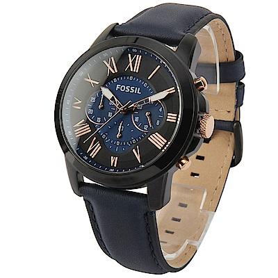 FOSSIL 羅馬時標三眼計時黑框皮革腕錶-(FS5061)-43mm