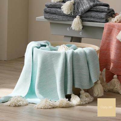 Cozy inn 純棉漸變流蘇針織毯-薄荷