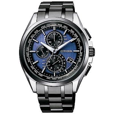 CITIZEN 星辰光動能 電波鈦競速計時男錶(AT8044-72L) 藍/41mm