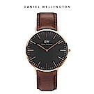 DW 手錶 官方旗艦店 40mm玫瑰金框 Classic Black 深棕真皮皮革錶