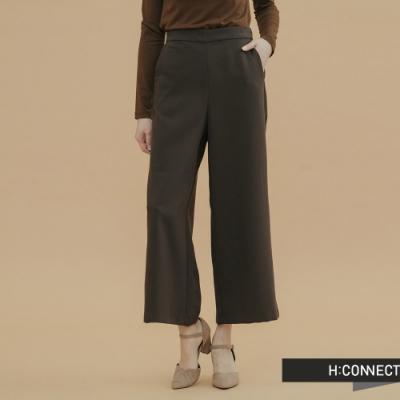 H:CONNECT 韓國品牌 女裝-知性素面寬褲-棕