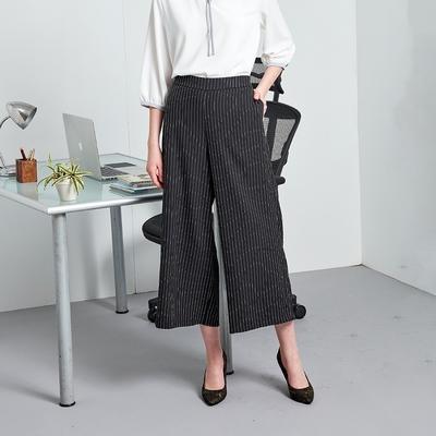 【MASTINA】百搭條紋寬版-女長褲(黑色/版型適中)