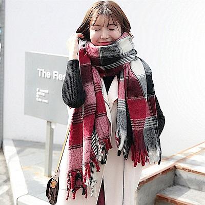 梨花HaNA 經典不敗格子學院紅圍巾披肩