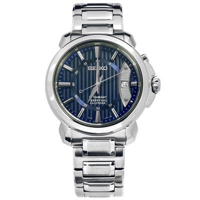 SEIKO 精工 Premier 藍寶石水晶 萬年曆 日本製造 不鏽鋼手錶-藍色/41mm
