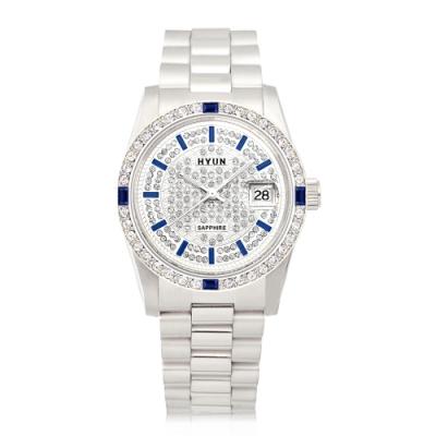 HYUN炫 極致奢華點綴寶石精品鑽錶-銀