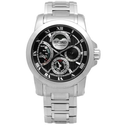 SEIKO 精工 Premier 羅馬 人動電能 不鏽鋼腕錶-黑色/41mm
