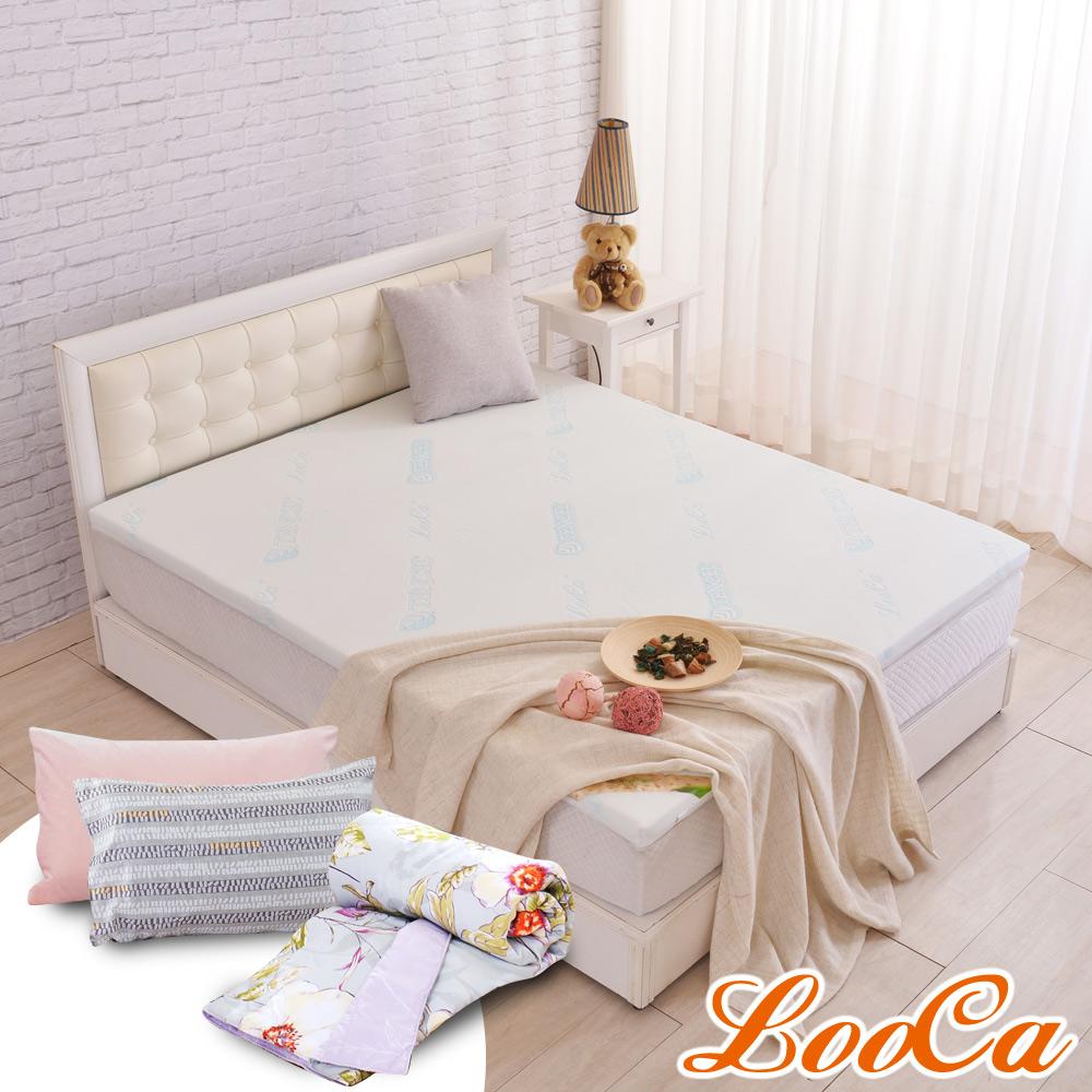 (618特惠組)LooCa 水漾天絲5cm天然乳膠床墊-雙人5尺