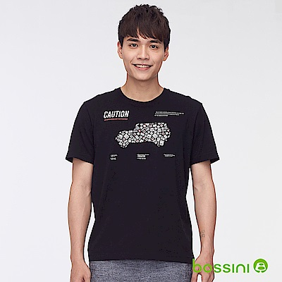 bossini男裝-印花短袖T恤46黑
