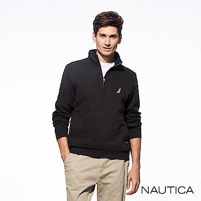 Nautica運動風立領拉鏈休閒針織衣-黑