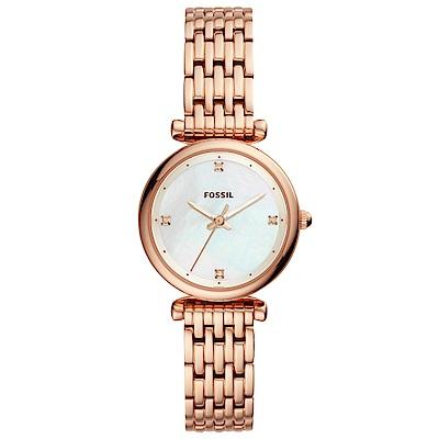 FOSSIL Carlie閃耀晶鑽彩貝時尚手錶(ES4429)-玫瑰金/29mm