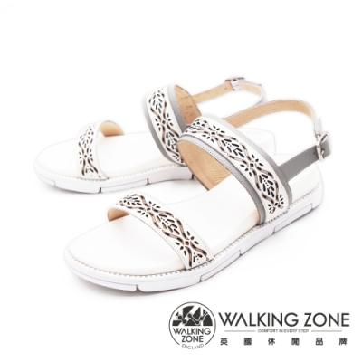 WALKING ZONE(女) 雕花厚底彈力涼鞋 女鞋 -白(另有藍)