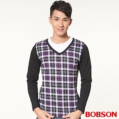 BOBSON 男款合身版仿兩式長袖上衣(紫63)