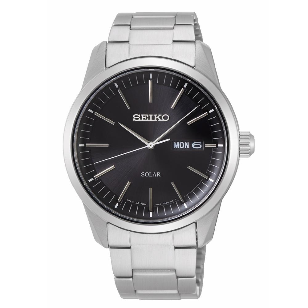 SEIKO精工 質感簡約太陽能時尚腕錶V158-0BE0D/SNE527P1