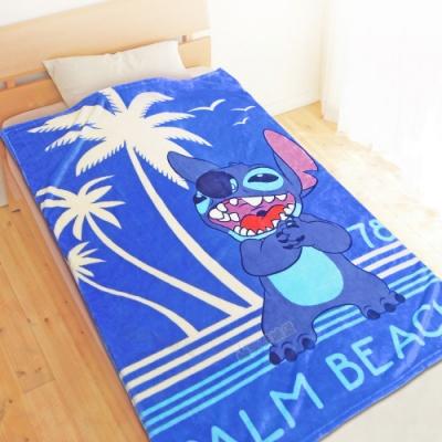 享夢城堡 法蘭絨毯100x150cm-迪士尼史迪奇Stitch 棕櫚海灘-藍