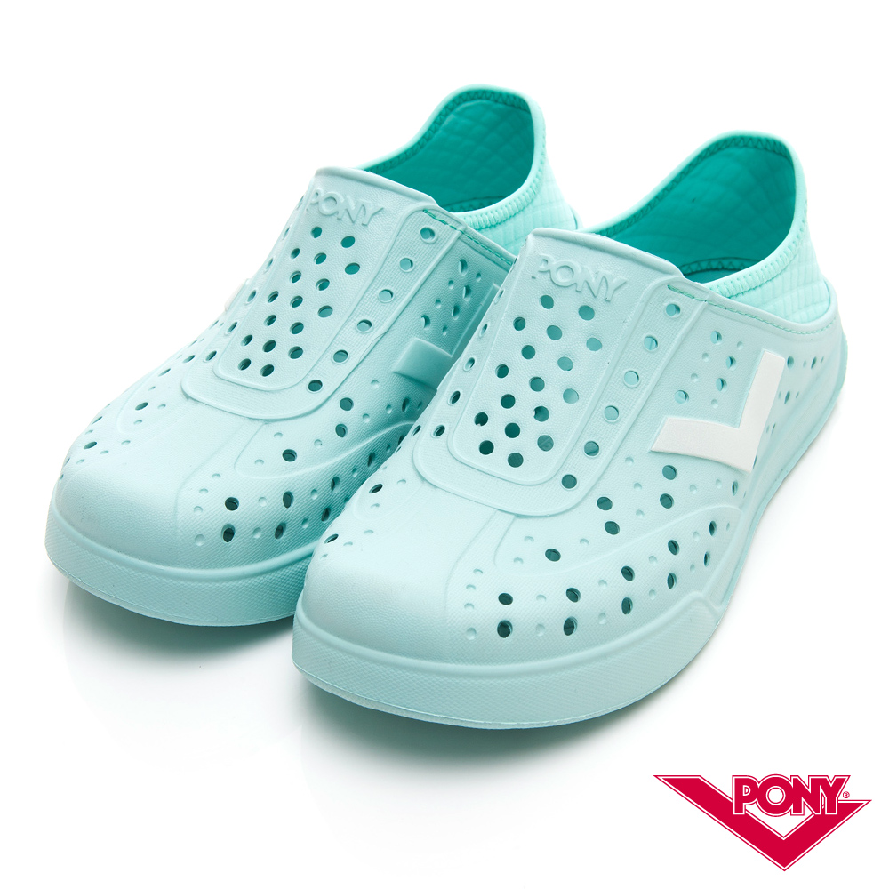 【PONY】ENJOY明星款洞洞鞋 踩後跟 涼鞋 拖鞋 中性 粉藍