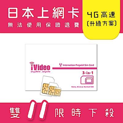 iVideo日本上網卡 SIM卡 20天 吃到飽 【升級方案】