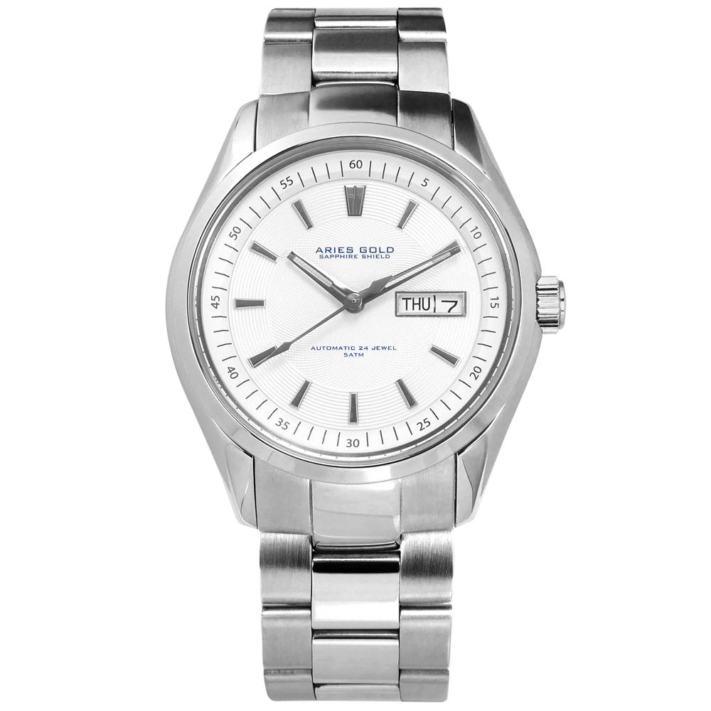 ARIES GOLD 機械錶 自動上鍊 藍寶石水晶玻璃 不鏽鋼手錶-銀白色/42mm